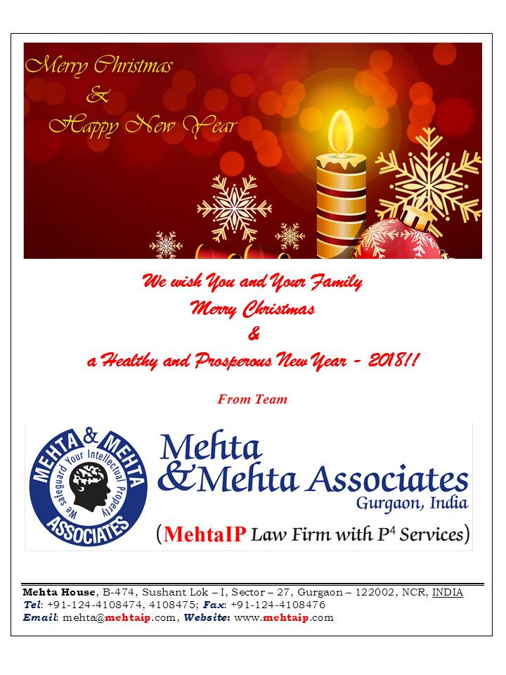 Merry Christmas & a Healthy and Prosperous New Year – 2018!! – MehtaIP